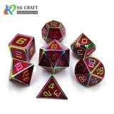 red glitter Enamel rainbow Metal Dice Set