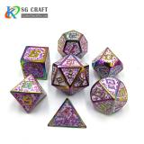 glitter Enamel rainbow Metal Dice Set