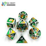 orange-green mixed Enamel Metal Dice Set