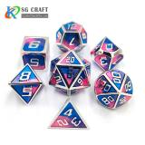 three color mixed Enamel Metal Dice Set