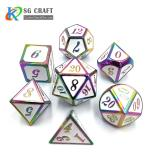 white Enamel rainbow Metal Dice Set